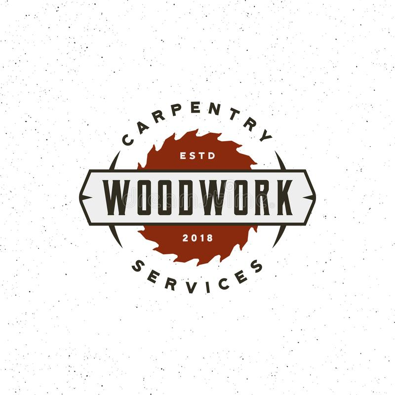 Rocznik ciesielki logo retro projektujący drewno pracuje emblemat również zwrócić corel ilustracji wektora royalty ilustracja