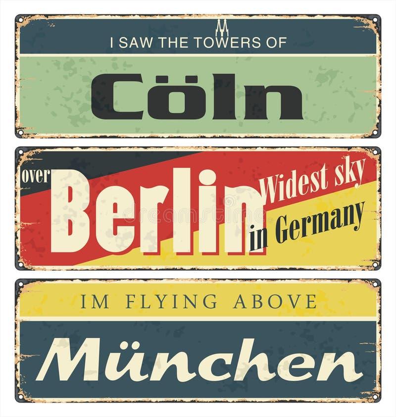 Rocznik cyny znaka kolekcja z Niemcy miastami berlin munich cologne Retro pamiątki ilustracja wektor