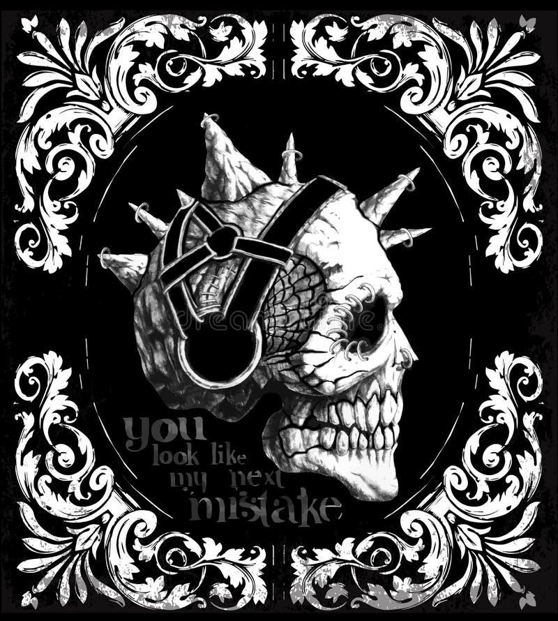 Rocznik czaszki T koszulowy Graficzny projekt royalty ilustracja