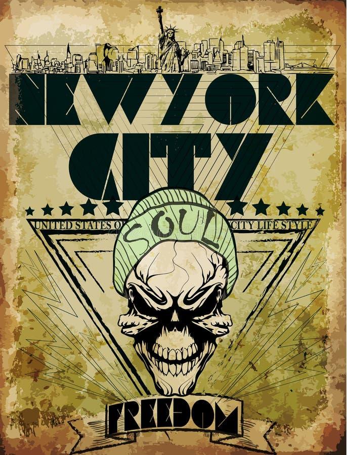 Rocznik czaszki trójnika graficznego projekta York Nowy miasto ilustracja wektor