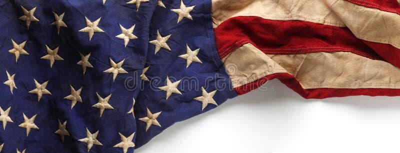 Rocznik czerwień, biel i błękitna flaga amerykańska, zdjęcie royalty free