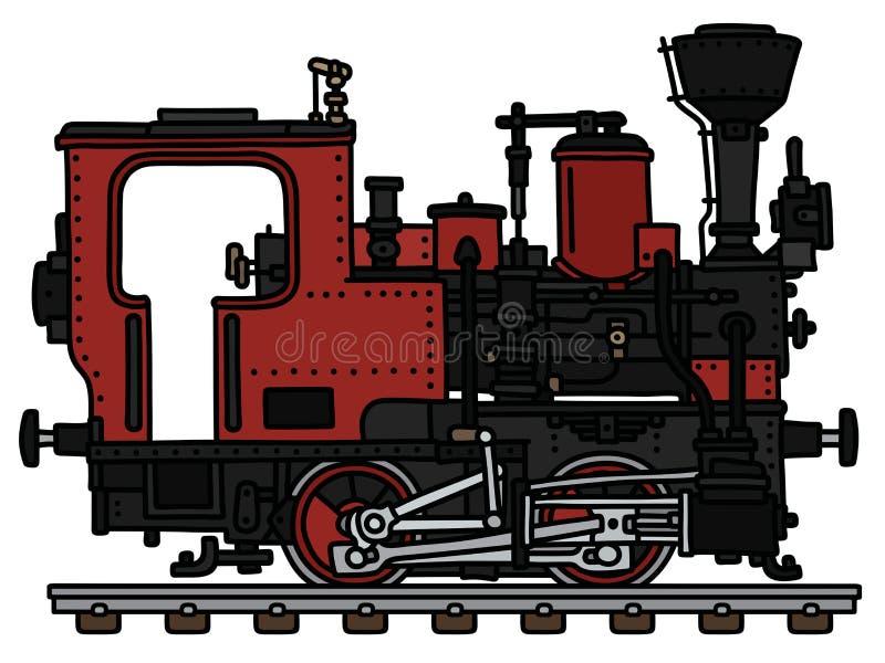 Rocznik czerwona mała parowa lokomotywa royalty ilustracja