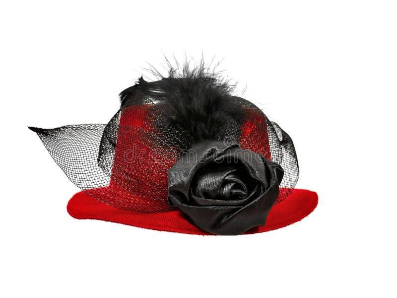 Rocznik damy czerwony kapelusz z czarnymi piórkami obrazy stock