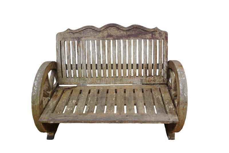 Rocznik drewniana ławka z ścinek ścieżką obraz stock
