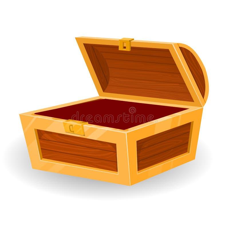 Rocznik drewniana klatka piersiowa z otwartą pokrywą royalty ilustracja