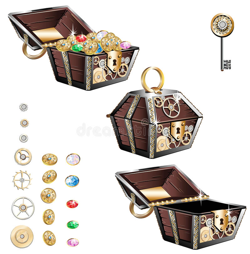 Rocznik drewniana klatka piersiowa z złocistymi monetami i klejnotami royalty ilustracja