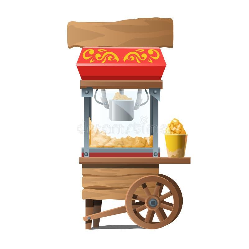 Rocznik drewniana maszyna dla robić popkornowi royalty ilustracja