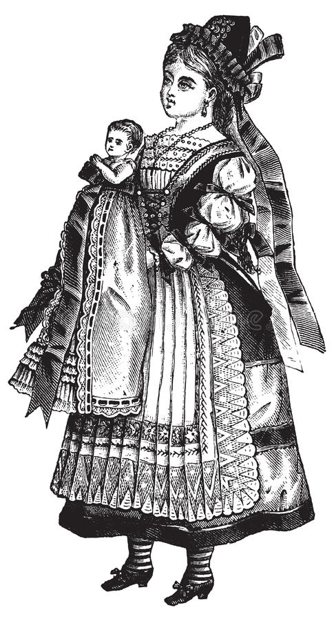 Rocznik dziewczyna z lala wektoru ilustracją ilustracja wektor