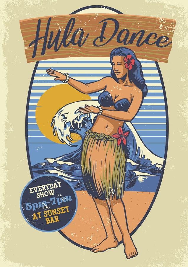Rocznik dziewczyny hula Hawajski taniec royalty ilustracja