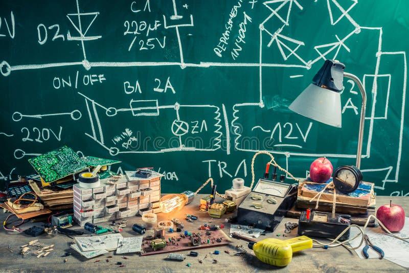 Rocznik elektronika miejsce pracy w physics lab zdjęcie stock