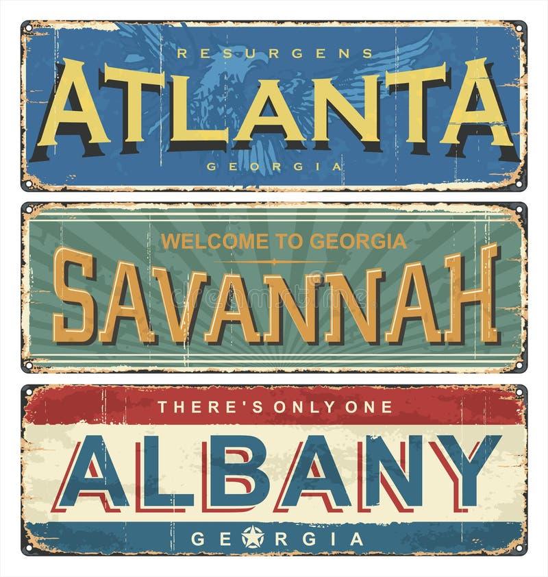 Rocznik emalii znak z Gruzja USA miastami Stary drogowy znak usa royalty ilustracja