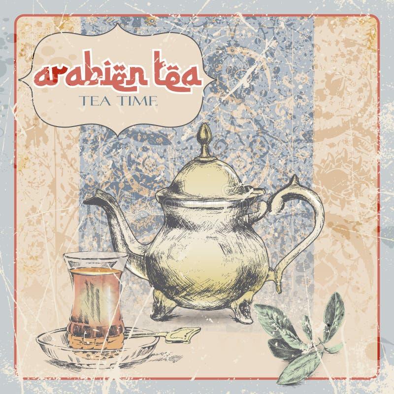 rocznik etykietka Arabska herbata ilustracja royalty ilustracja