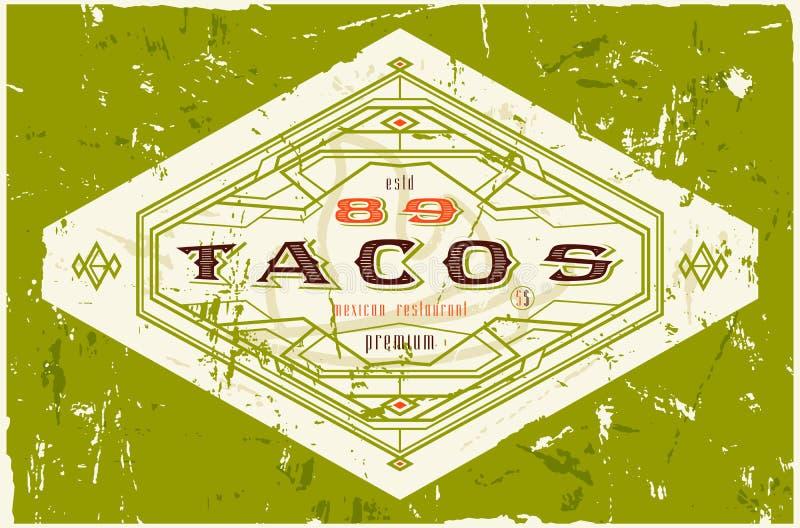Rocznik etykietka dla tradycyjnego taco meksykanina jedzenia ilustracja wektor