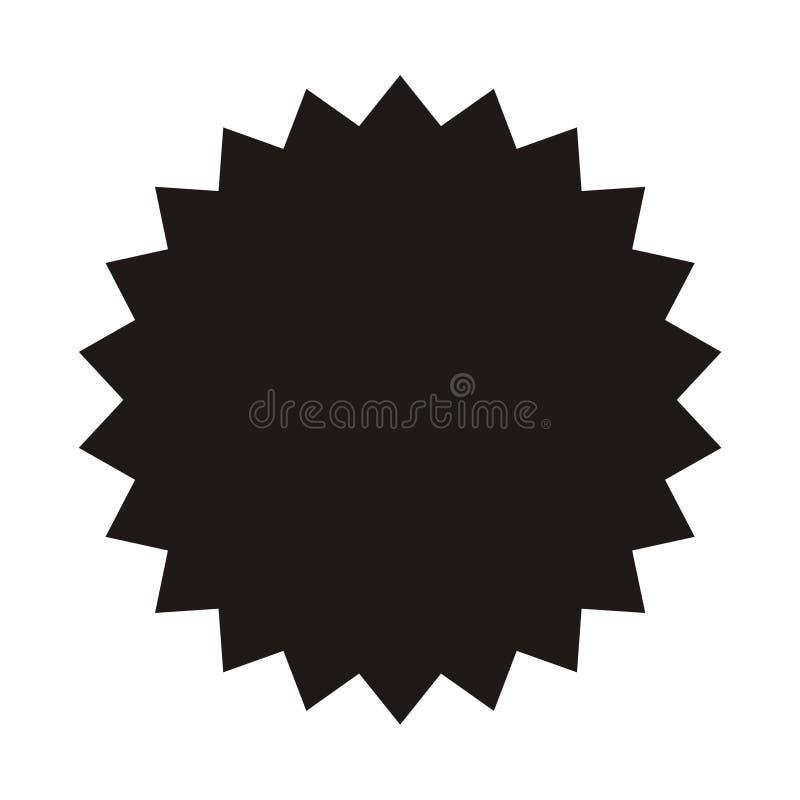 Rocznik etykietka, majcher Wektorowy starburst, sunburst odznaka Czerń na białym kolorze Prości mieszkanie stylu projekta element royalty ilustracja