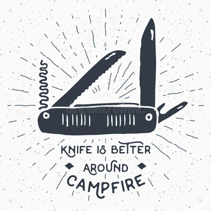 Rocznik etykietka, ręka rysujący Wielofunkcyjny kieszeniowy nóż, grunge textured wycieczkować, obozuje wyposażenia narzędzie, ret royalty ilustracja