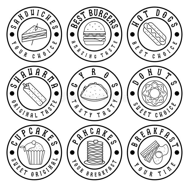 rocznik etykietki jedzenie ilustracja wektor