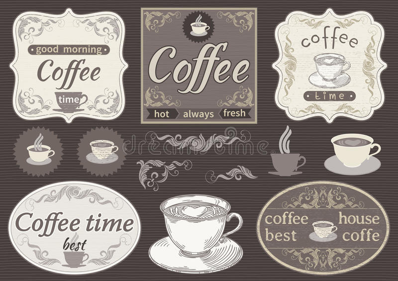 Rocznik etykietki - kawowy czas royalty ilustracja