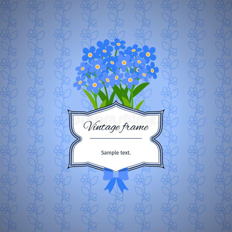 Rocznik etykietki projekt z błękitnymi kwiatami ilustracji