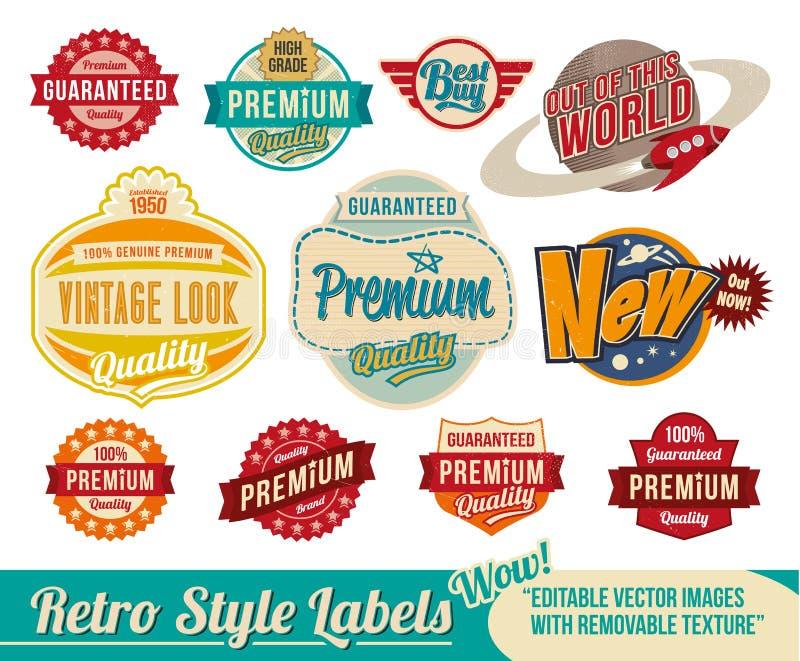 Rocznik etykietki retro etykietki i royalty ilustracja