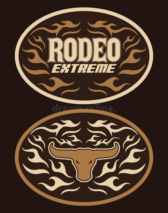 Rocznik etykietki westernu stylu projekta wektorowego Krańcowego rodeo kowbojska pasowa klamra ilustracja wektor