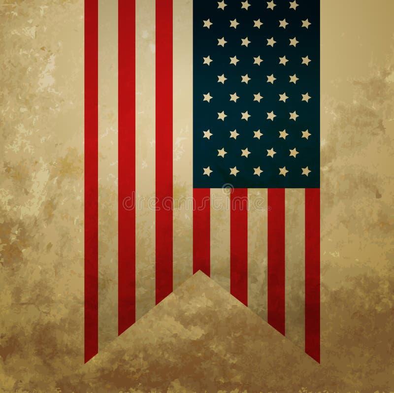 Rocznik flaga amerykańska royalty ilustracja