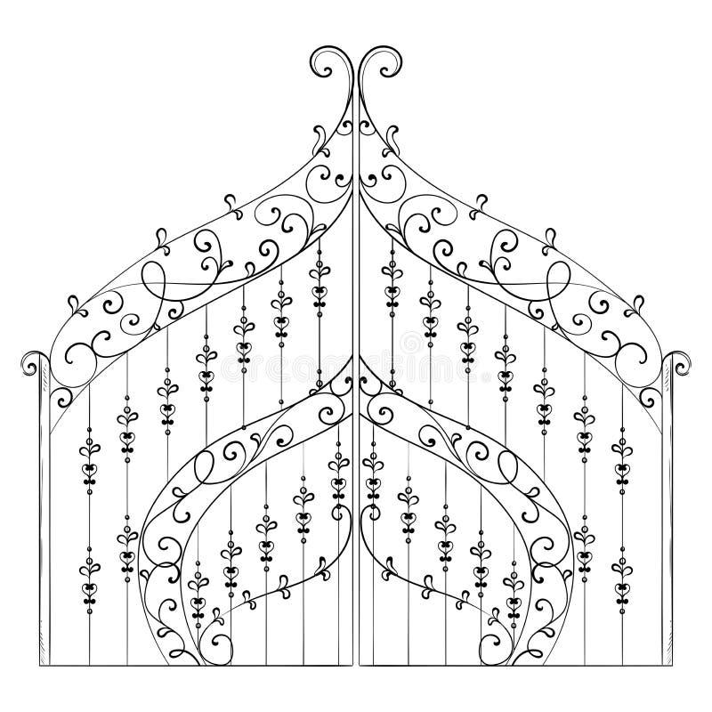 Rocznik forged brama z kwiecistym ornamentem Odosobniony przedmiot royalty ilustracja