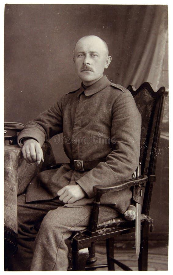 Rocznik fotografia żołnierz pierwsza wojna światowa fotografia stock