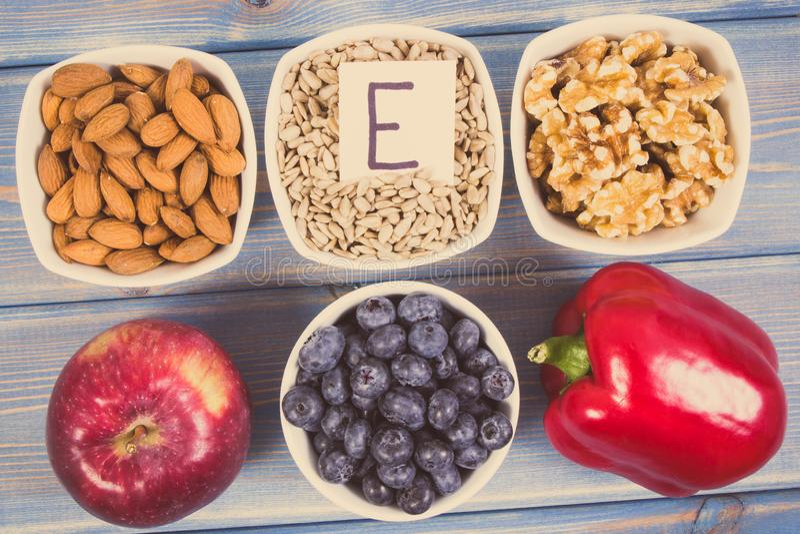 Rocznik fotografia, Naturalni produkty, składniki jako źródło witamina E, kopaliny lub żywienioniowy włókno, obrazy royalty free