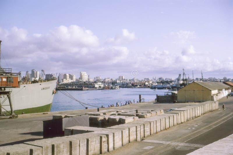 Rocznik fotografia około 1964, 1967 -, port Casablanca zdjęcie royalty free