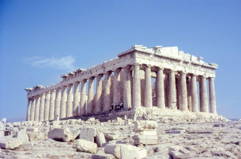 Rocznik fotografia około 1960s, Parthenon, antyczny zabytek, Ateny Grecja fotografia stock