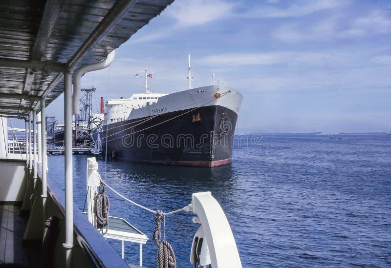 Rocznik fotografia około 1960s, Shell tankowiec M S Serenia fotografia stock