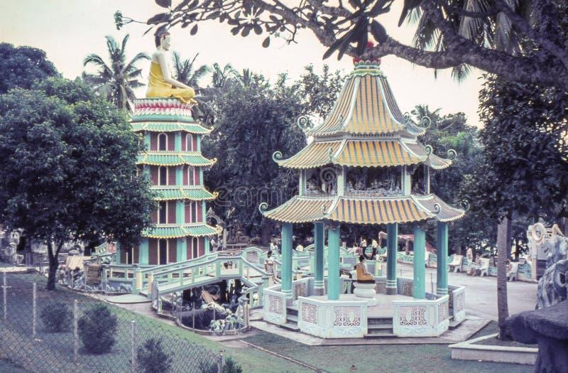 Rocznik fotografia około 1964, Tygrysia balsamu ogródu pagoda, Singapur obraz stock
