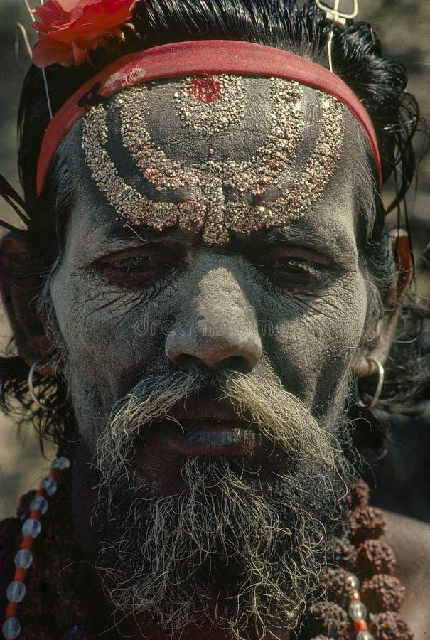 Rocznik fotografia sadhu przy kumbh Mela 1977 zdjęcie stock