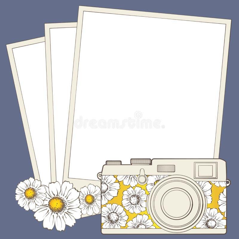 Rocznik fotografii kamera z winietą ilustracja wektor