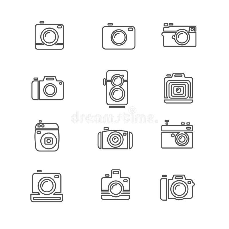 Rocznik fotografii kamery ikony Kreskowa sztuka wektor ilustracji
