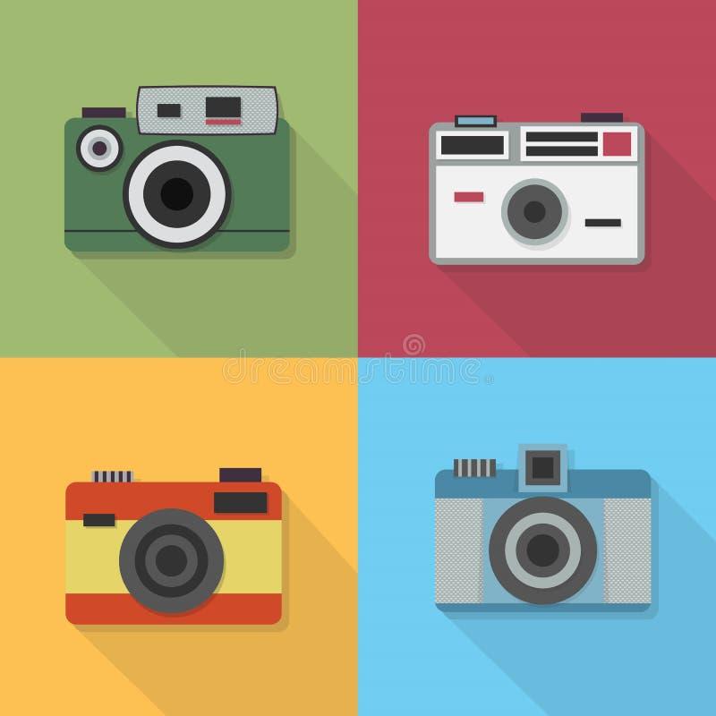 Rocznik fotografii kamery ikony ustawiać royalty ilustracja