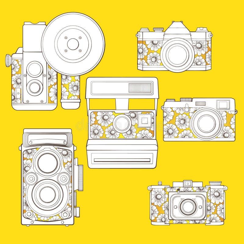 Rocznik fotografii kamery ustawiać z kwiecistym wzorem. ilustracji