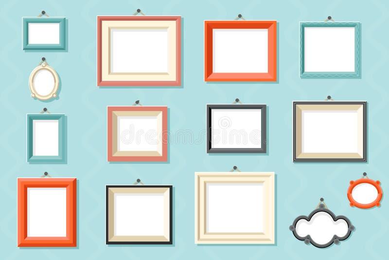 Rocznik fotografii obrazka obrazu szablonu ściennego tła projekta wektoru ramowe rysunkowe ikony ustawiająca płaska ilustracja ilustracja wektor