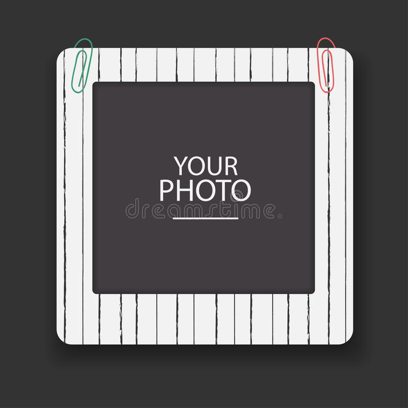Rocznik fotografii rama z klamerkami Scrapbook projekta retro pojęcie Albumowy szablon dla dzieciaka, dziecka, rodziny lub wspomi royalty ilustracja