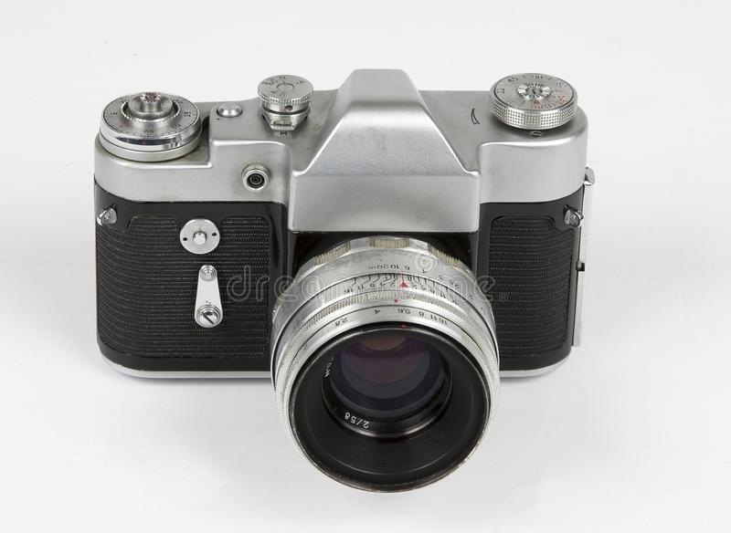 Rocznik fotografii retro kamera odizolowywająca na białym tle w górę frontowego i odgórnego widoku zdjęcie royalty free