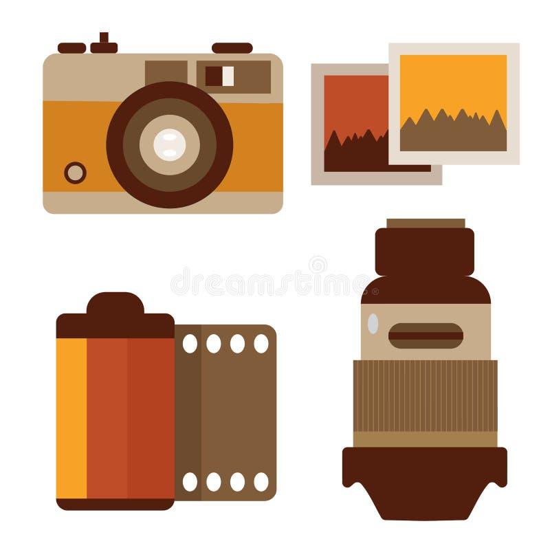 Rocznik fotografii fotografii wyposażenie royalty ilustracja