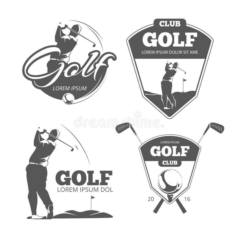 Rocznik golfowe wektorowe etykietki, odznaki i emblematy, royalty ilustracja