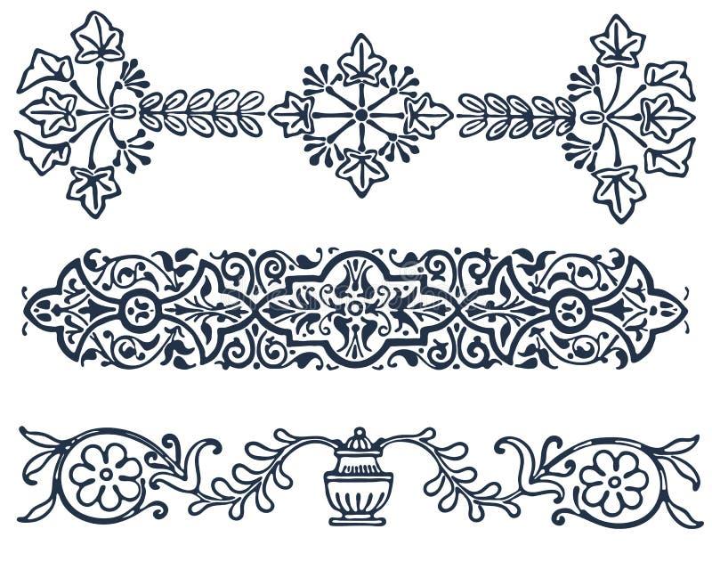 Rocznik granicy ramy filigree rytownictwo z ilustracja wektor