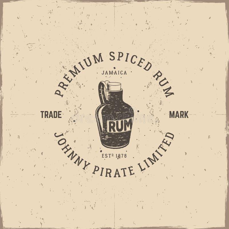 Rocznik handcrafted pirata rumowy emblemat, alkohol etykietka, logo Odizolowywający na porysowanym papierowym tle Kreślić wypełni ilustracji