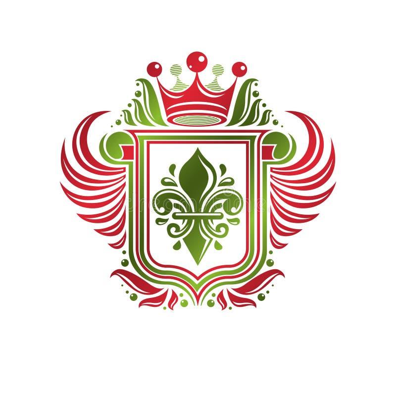 Rocznik heraldyczna insygnia robić z monarchicznym korony i lelui flowe ilustracja wektor