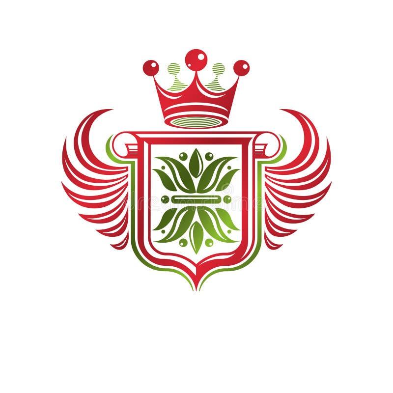 Rocznik heraldyczna insygnia robić z monarchicznym korony i lelui flowe ilustracji