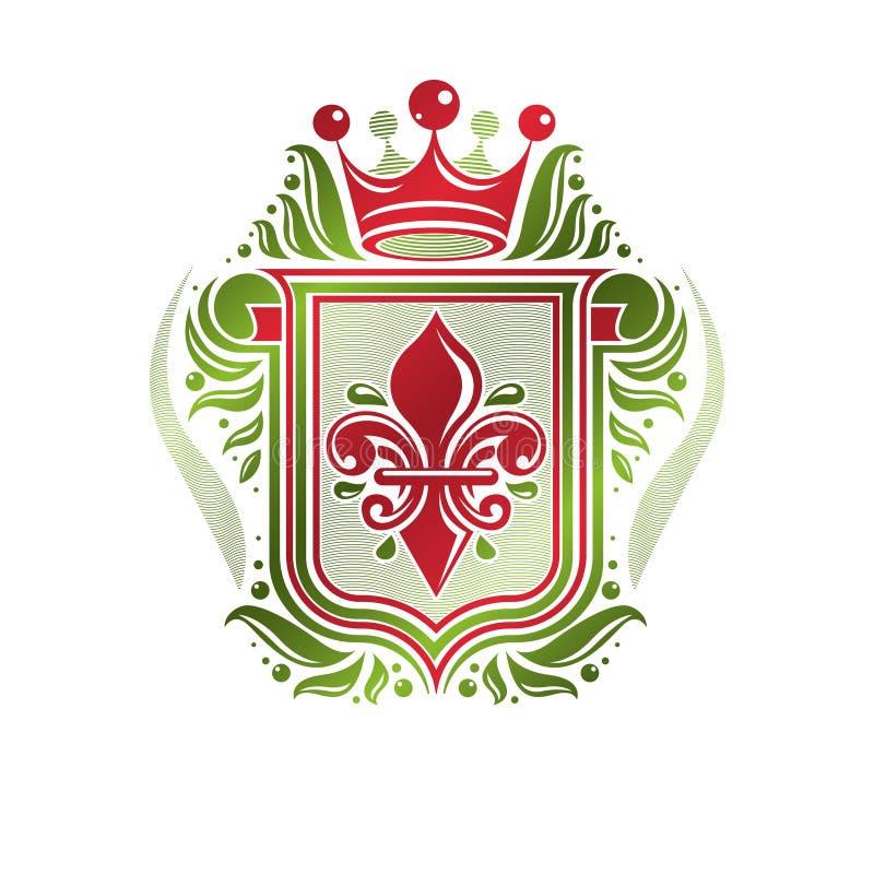 Rocznik heraldyczna insygnia robić z monarchicznym korony i lelui flowe royalty ilustracja