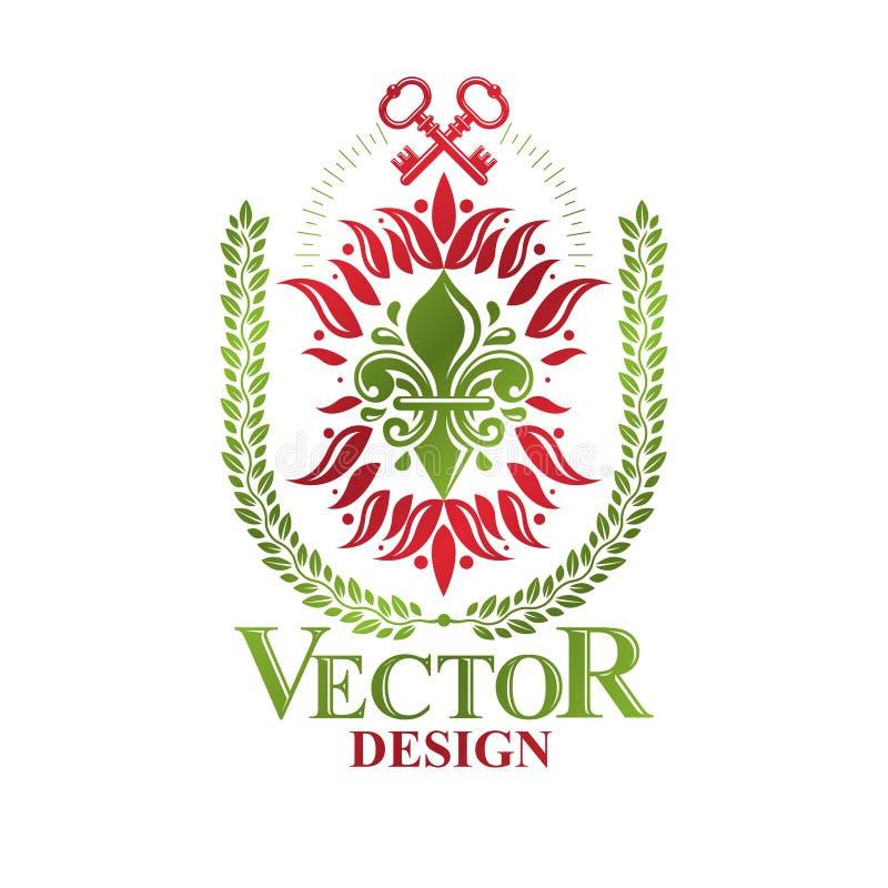 Rocznik heraldyczna wektorowa insygnia komponująca z leluja kwiatem królewskim ilustracji