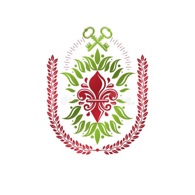 Rocznik heraldyczna wektorowa insygnia komponująca z leluja kwiatem królewskim royalty ilustracja
