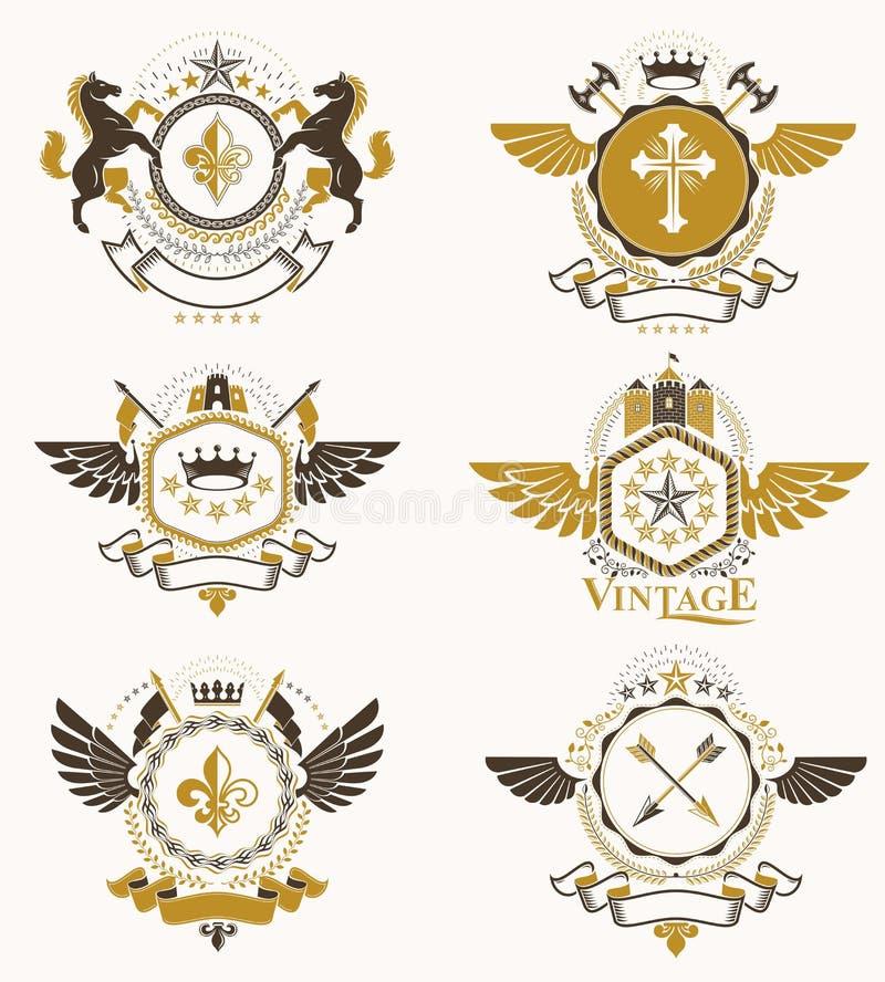 Rocznik heraldyki projekta szablony, wektorowi emblematy tworzyli z b ilustracja wektor